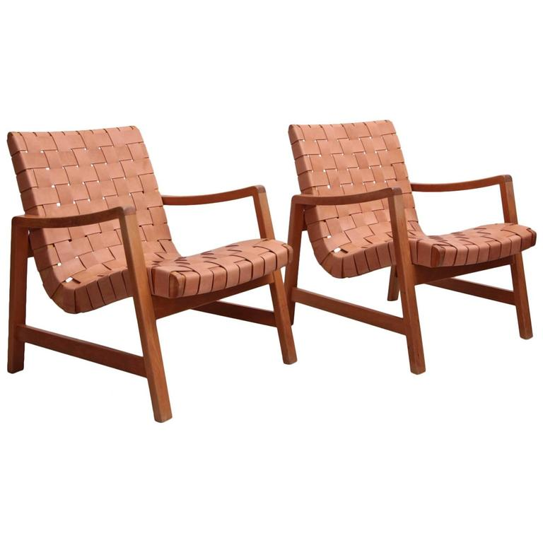 Set of two early jens risom armchairs by knoll with new leather webbing for sale at 1stdibs - Knoll inc chairs ...