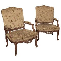 Pair of 19th Century French Louis XV Walnut Armchairs / Fauteuils in Silk Velvet