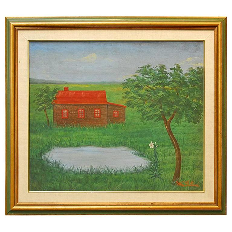 Painting By William Fellini Log Cabin At 1stdibs