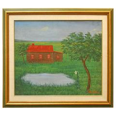 Painting by William Fellini Log Cabin