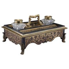 19th C. French Boulle Inlay Inkwell with Bronze Mounts and Cut Glass Vessels