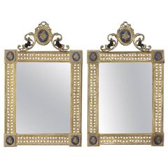Pair of Early 20th Century French Louis XVI Bronze Doré and Enamel Wall Mirrors
