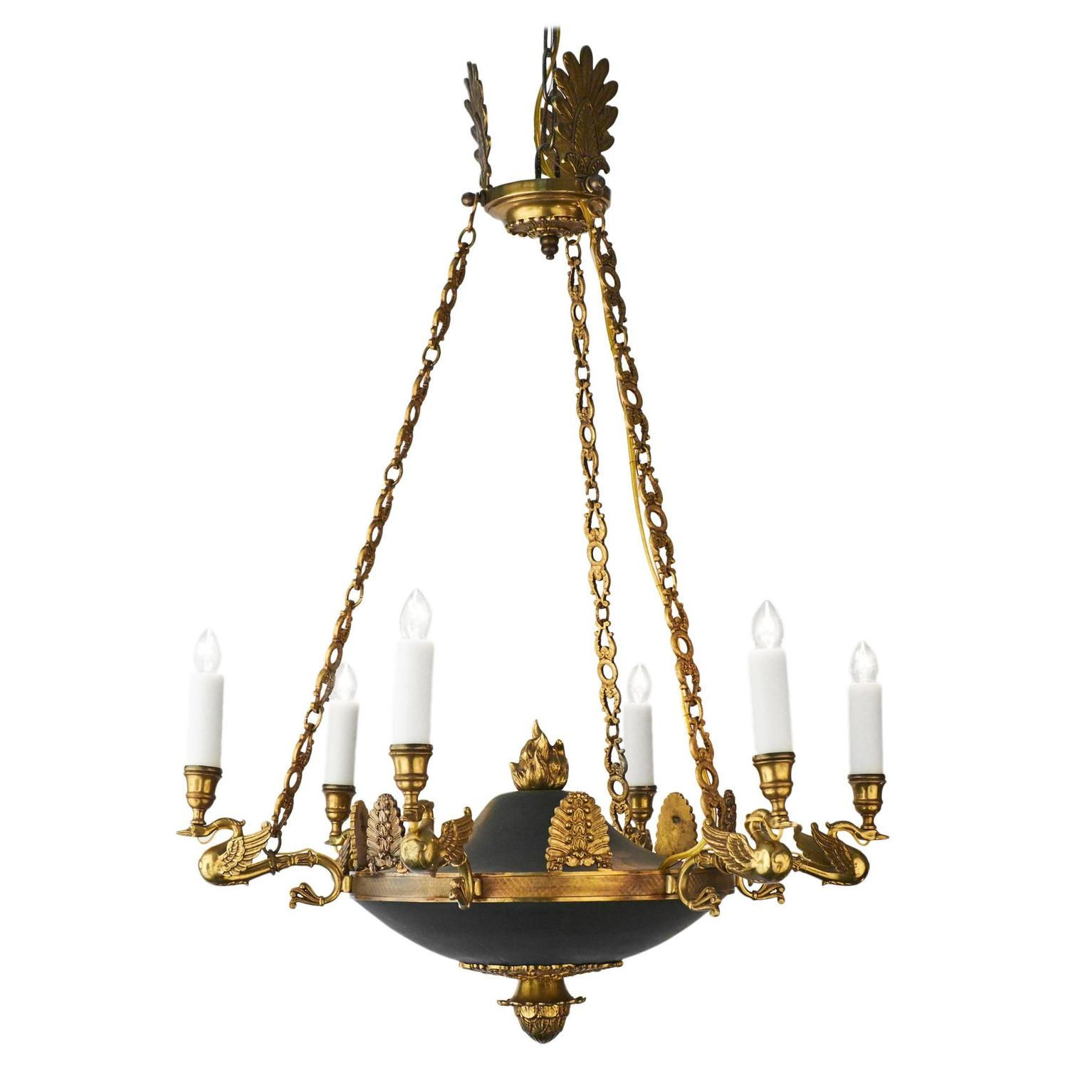 - French Empire Style Bronze Chandelier At 1stdibs