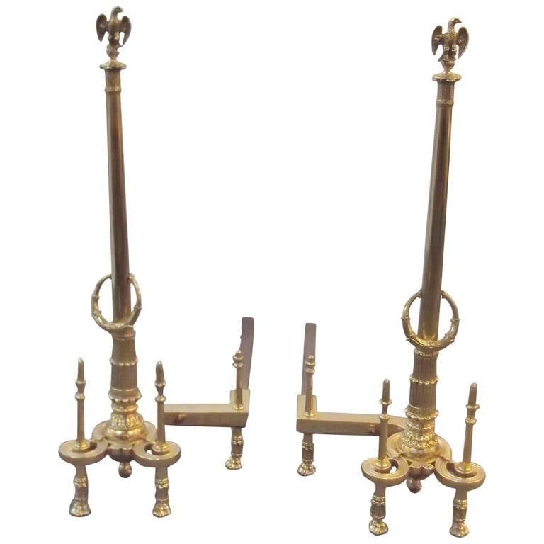 Pair of Louis XV Style Tall Andirons For Sale