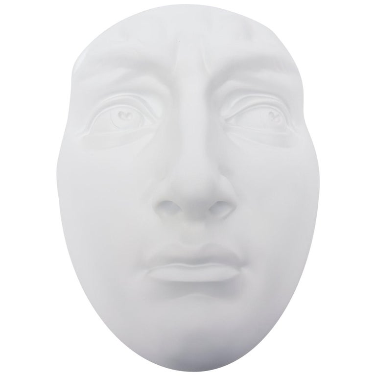 White Resin and Plaster Face Wall Sculpture For Sale