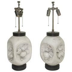 Pair of 1950s Italian Mid-Century Modern Matte Bisque Fruit Lamps