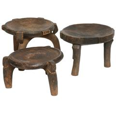 Group of Three Ethiopian, Handcarved Antique Stools with Distinct Differences