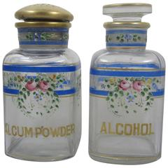 A.H. Heisey Hand-Enameled Floral Roses and Gilded Glass Vanity Bottles, a Pair
