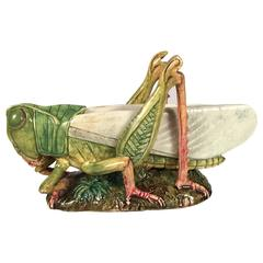 French Majolica Vase Modeled as a Grasshopper