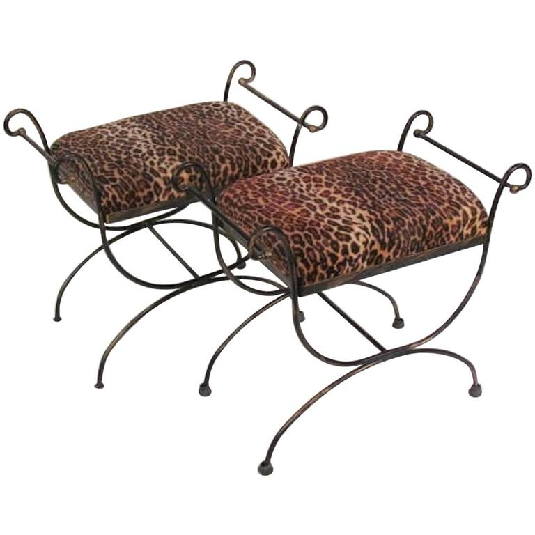 Pair of Mid-Century Modern Iron Leopard Print Cerule Benches