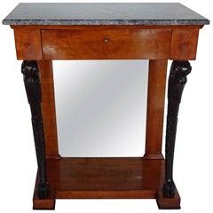 Empire Walnut and Ebonized Console Table