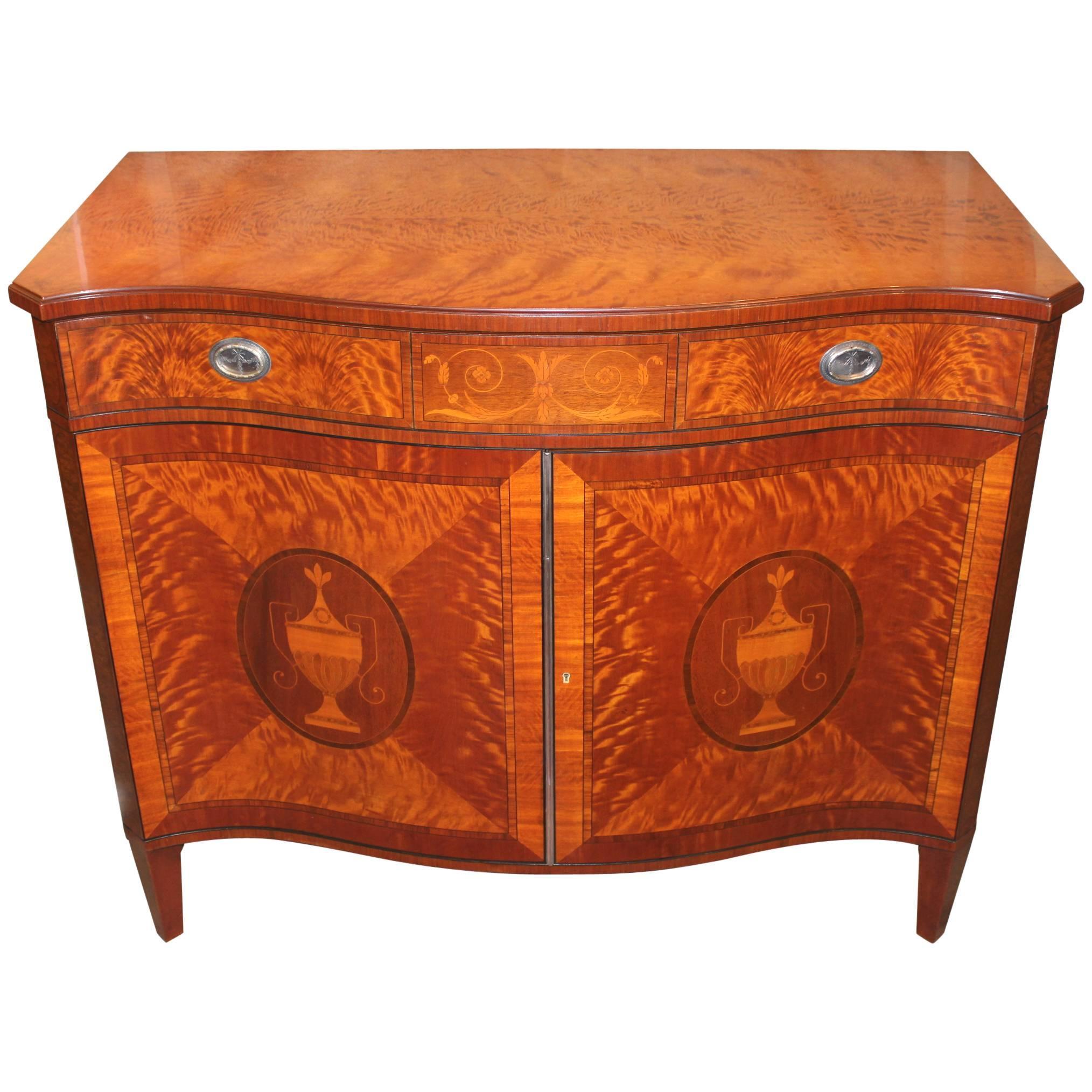 Schmieg & Kotzian, Adam Style Satinwood Serpentine Cabinet or Server