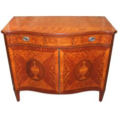 Schmieg & Kotzian, Adam Style Satinwood Serpentine Cabinet or Server