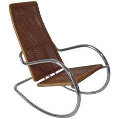 Italian Chrome and Wood Caned Rocking Chair