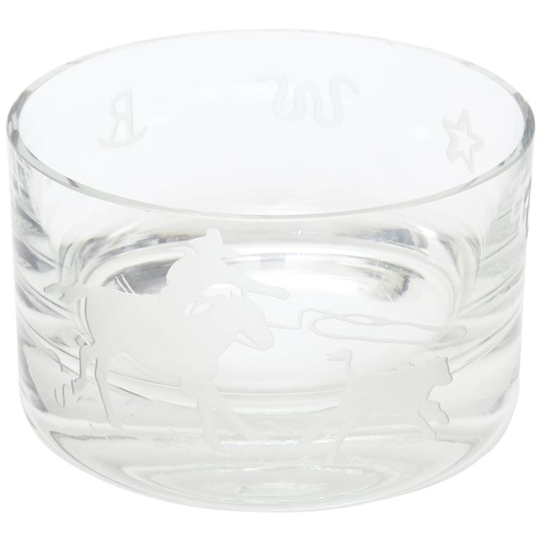 "Signed Perry Coyle for Steuben Etched Crystal Glass ""Rodeo"" Bowl"