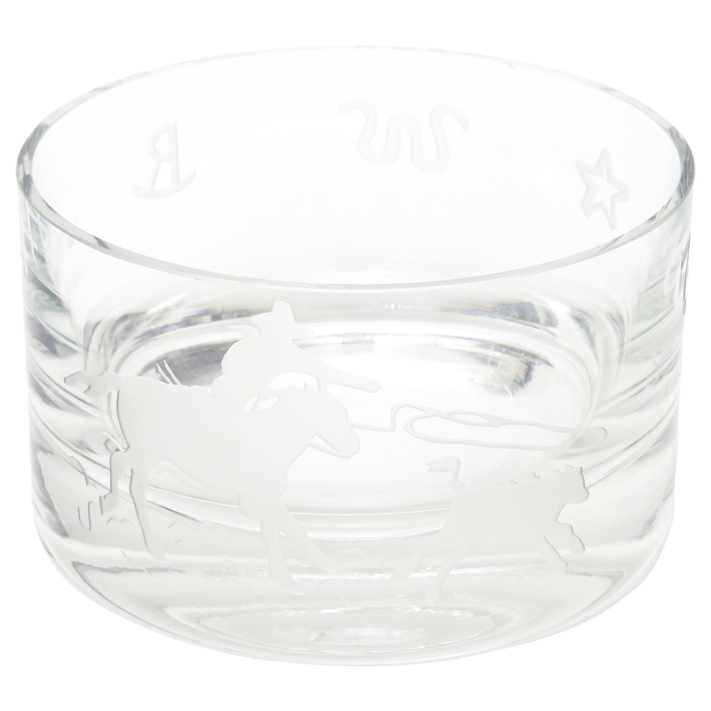 """Signed Perry Coyle for Steuben Etched Crystal Glass """"Rodeo"""" Bowl"""
