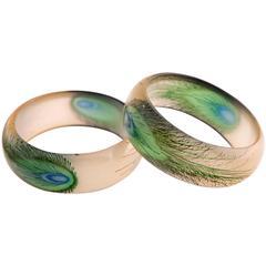 Boho Chic Bakelite Peacock Feather Bracelet