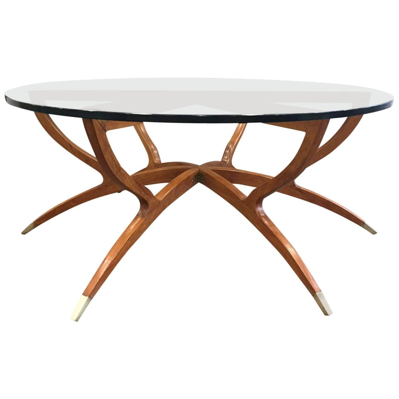 Mid-Century Modern Spider Leg Walnut Coffee Table For Sale
