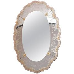 Vintage Venetian Mirror with Applied Rosettes and Etched Detail