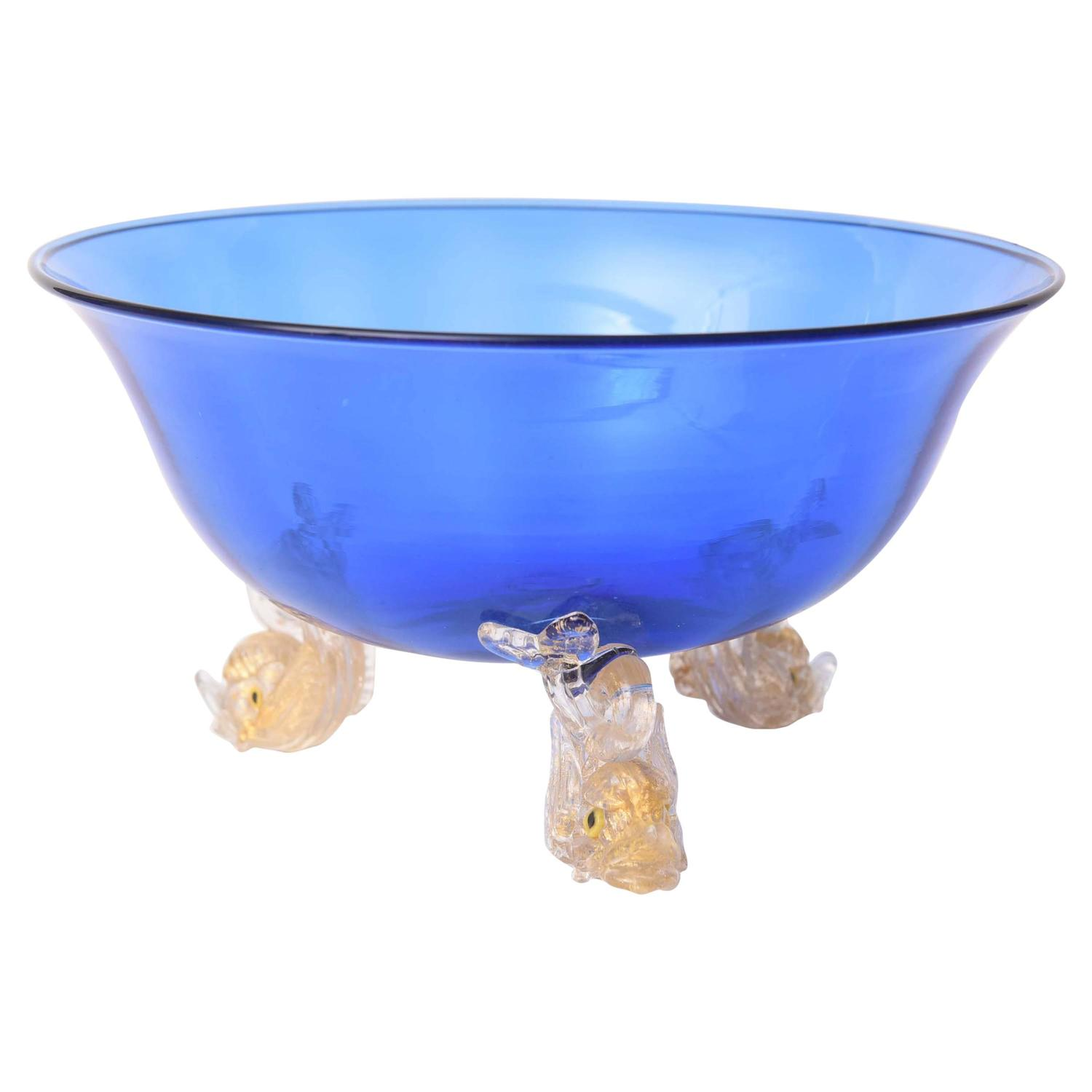 Venetian glass cobalt blue gold dolphin foot centerpiece