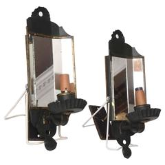 Pair of Vintage Tole Sconces Dark Green/Black Paint, Mirrored, Candleholder Type