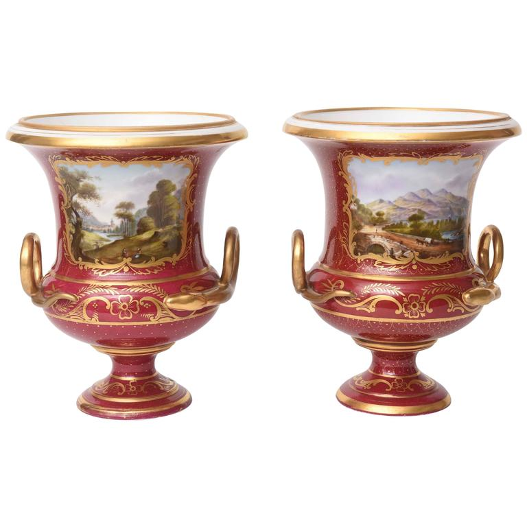 Pair of 19th Century Urn Vases Rich Ruby Color with Hand-Painted Scenes Pedestal