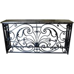 Reclaimed French Parisian Balcony Marble-Top Console