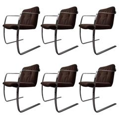 Set of Six Polished Steel Dining Chairs