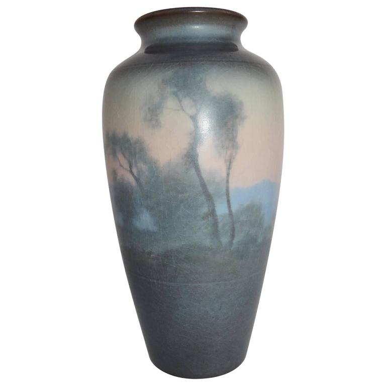 Rookwood Pottery Scenic Vellum Vase 1919 Fred Rothenbusch For Sale