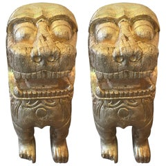 Two Carved Wood Asian Guardian Foo Lions