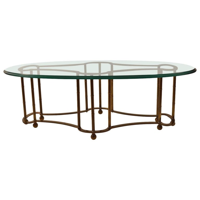 Mastercraft Coffee Table Glass Top Brass Base For Sale