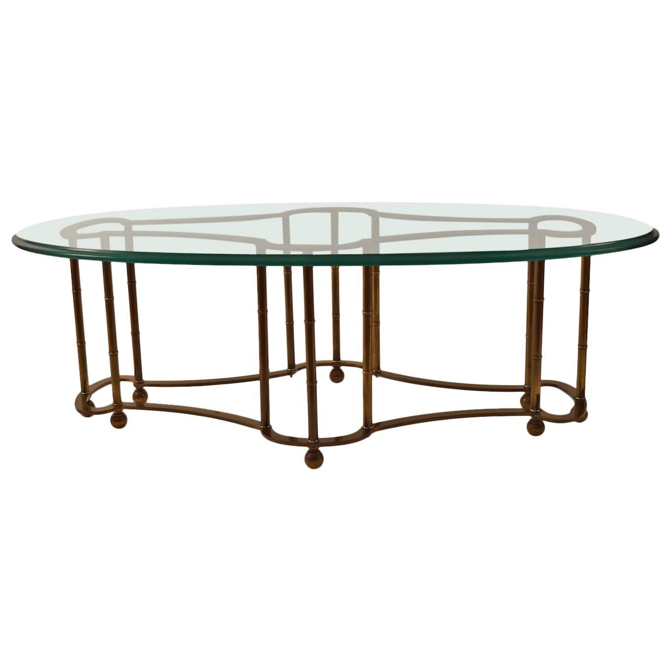 Glass Coffee Table Brass Base: Mastercraft Coffee Table Glass Top Brass Base For Sale At