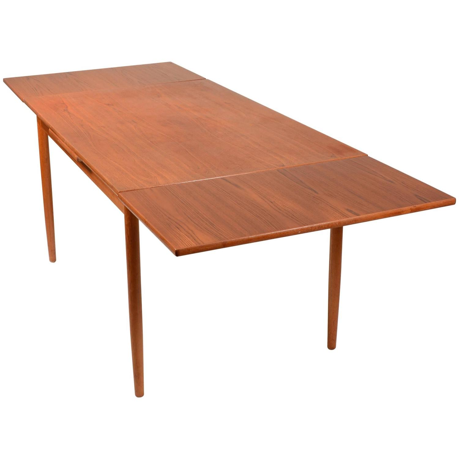 Danish modern draw leaf extendable dining table at 1stdibs for Danish modern dining room table