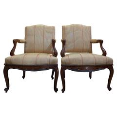 French Pair of Regence Period Armchairs in Walnut, circa 1730