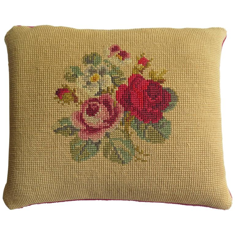 Late 19th Century Pillow or Cushion Needlepoint tapestry Art-Nouveau Design For Sale