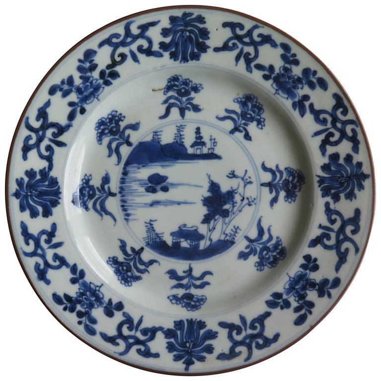 Chinese Porcelain Plates : Qing quot kangxi period chinese plate blue and white