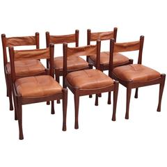 Set of Six Leather and Wood Chairs by Silvio Coppola for Bernini