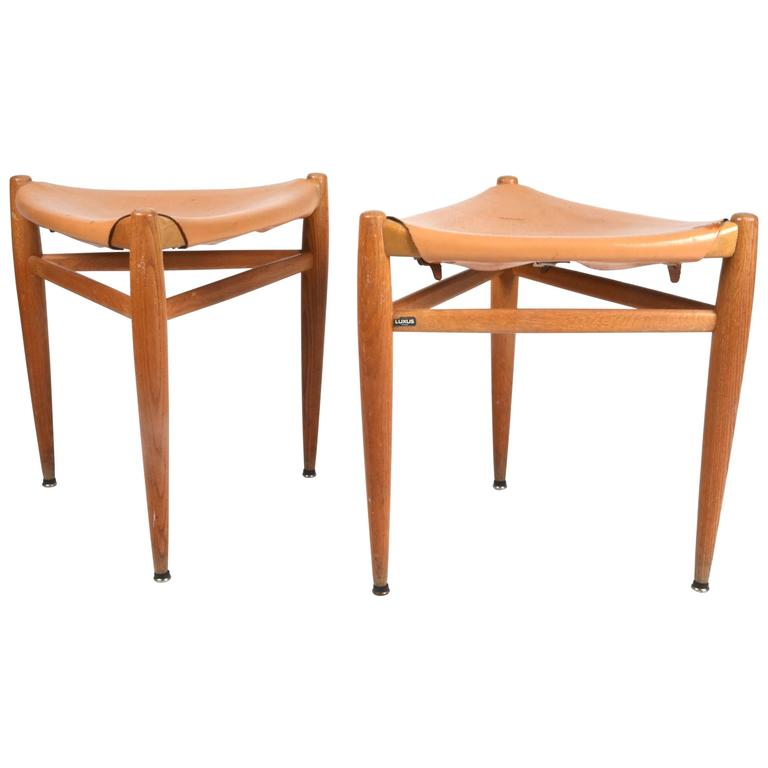 Pair of Stools by Östen Kristiansson, Luxus, Sweden, 1950s