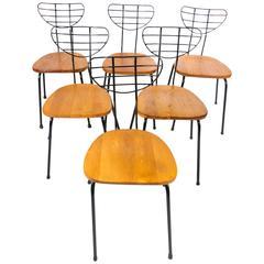 Set of Six Radar Chairs by Willy Van Der Meeren for Tubax, Belgium, 1950s