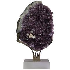 Amethyst Crystal on Steel Base by Ernst Scheubeck