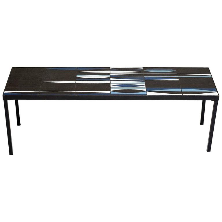 Capron Blue Black  Ceramic Navette Coffee Table, Iron 1950 France Mid Century  Very Rare blue Roger Capron Navette ceramic table signed by Artist. This must have been a custom order as it is very rare to find this color