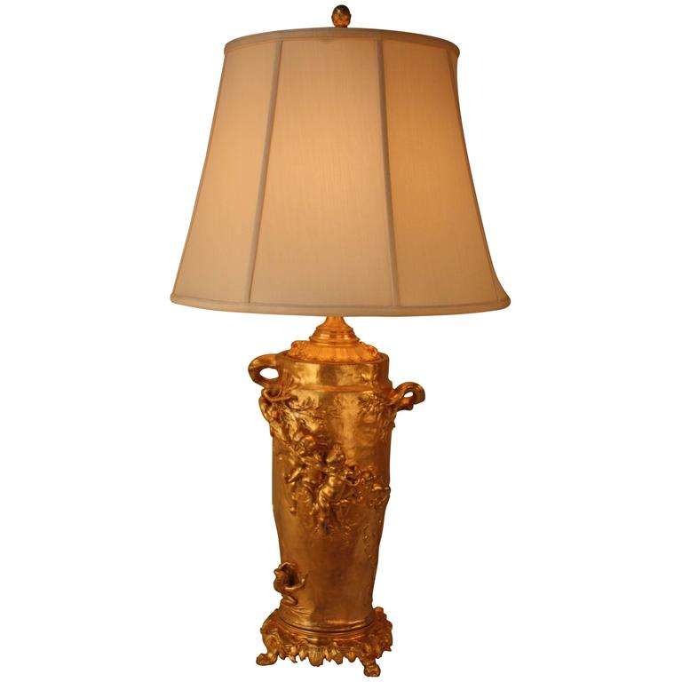 19th Century Doré Bronze Table Lamp by Gustave Joseph Cheret For Sale