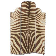 Vintage Art Deco Three-Panel Burchell Zebra Hide Screen