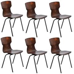 Set of Six Pagholz Streamlined Stacking Chairs
