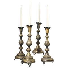 Fraget N Plaque Sabbath 19th Century Judaica Candlesticks
