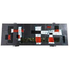 Ceramic Tile Side Table 1960s Designed by J. Belarti Belgium