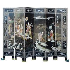 Asian Six-Panel Ebony Lacquer Folding Screen with Hardstone Carvings