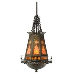 Moorish Style Lantern Chandelier with Glass Inserts by Tiffany