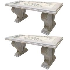 Fine Pair of Marble Benches