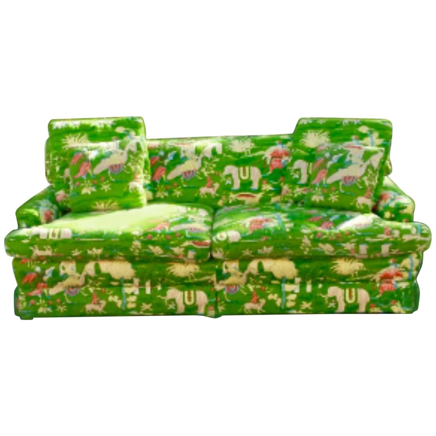 Bob Collins Linen Sofa Couch Chinoiserie Elephant Palm Beach Green